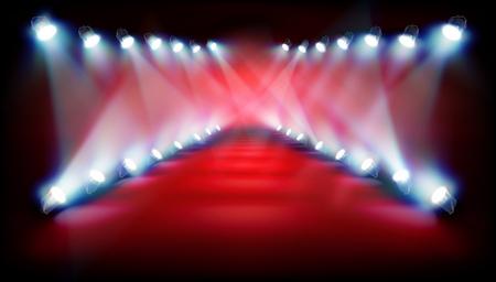 ショーの前に空のステージ。ベクトルの図。
