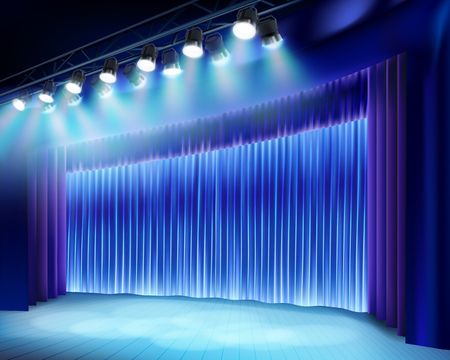Theater stage with blue curtain. Vector illustration.