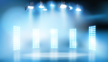 Lights on the stage. Vector illustration.