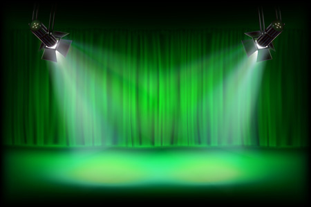 The stage with green curtain. Vector illustration.