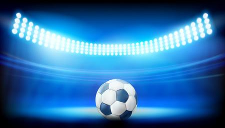 A soccer ball on the stadium illustration.