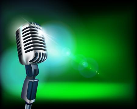 Das Mikrofon auf der leeren Bühne. Vektor-Illustration.