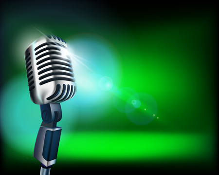 The microphone on empty stage. Vector illustration.