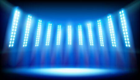 ステージに照らされたステージ。ベクトルの図。