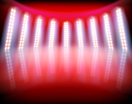 Illuminated stage in TV studio.