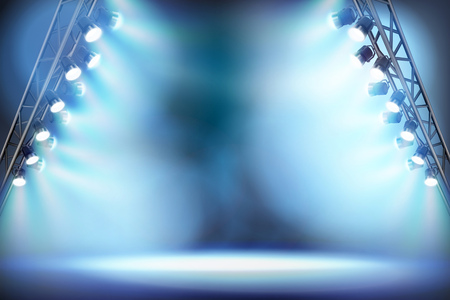 スポットライトで照らされた空のステージ。ベクトルイラスト。  イラスト・ベクター素材
