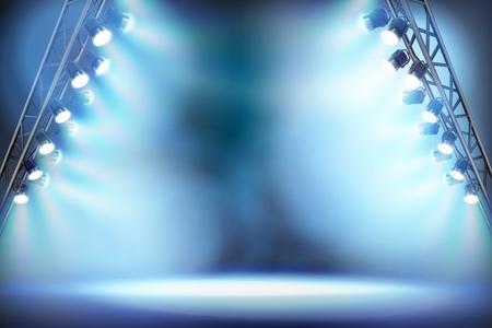 Empty stage illuminated by spotlights. Vector illustration.
