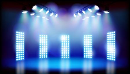 Blue lights on the stage. Vector illustration. Vector Illustration