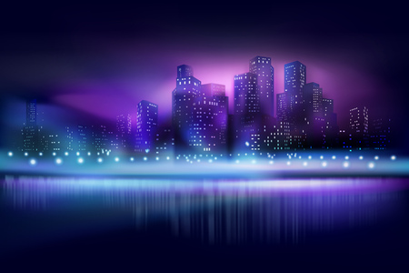 City view at the night. Vector illustration.
