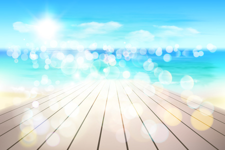 Abstract view on the beach from wooden boardwalk. Vector Illustration. Иллюстрация
