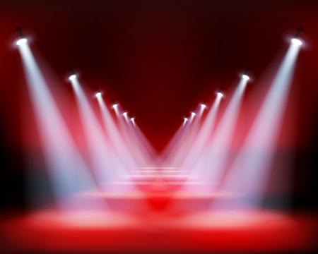 Runway show, light performance. Vector illustration. 向量圖像