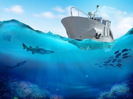 Łódź rybacka na morzu. Ilustracja 3D.