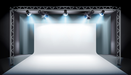 Empty stage in television studios. Vector illustration.