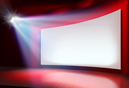 Big projection screen illustration with a bright light Çizim