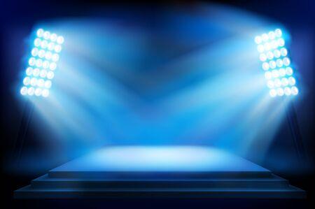 Illuminated stage on the stage. Vector illustration.