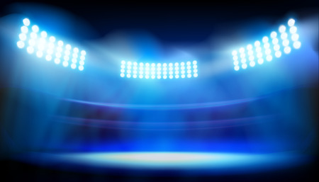 Lights on big stadium vector illustration.