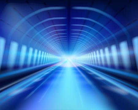 Long tunnel in the night. The effect of lighting. Vector illustration.