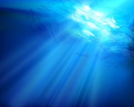 Głębokość morza. Promienie słoneczne. Ilustracji wektorowych.