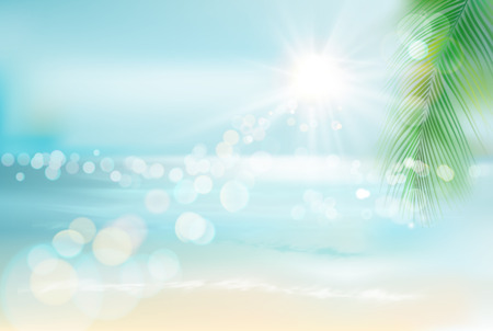 View of a tropical beach. Vector Illustration.  イラスト・ベクター素材