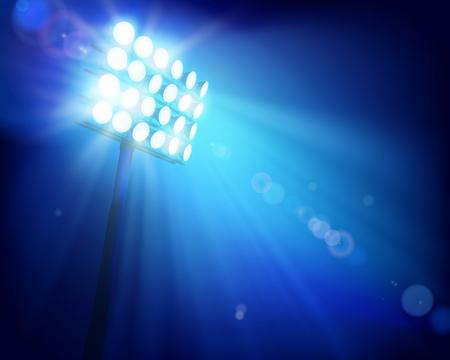 Stadium under floodlights. Vector illustration.