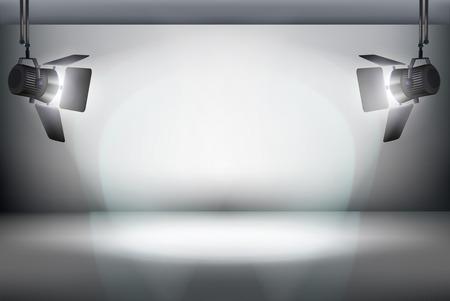 Stage in a television studio. Spotlights. Vector illustration.