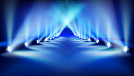 Blue spotlights. Catwalk before fashion show. Vector illustration.