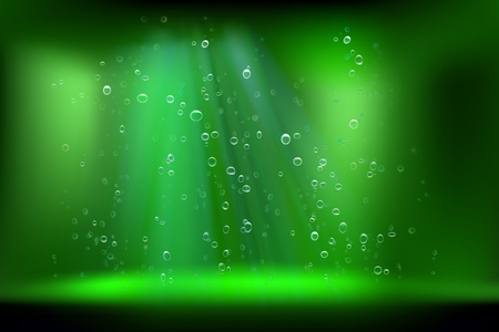 Air bubbles in deep water. Vector illustration.