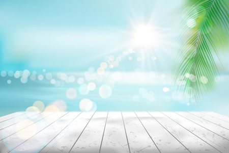 View of a tropical beach. Vector Illustration. Illustration