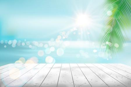View of a tropical beach. Vector Illustration. Иллюстрация