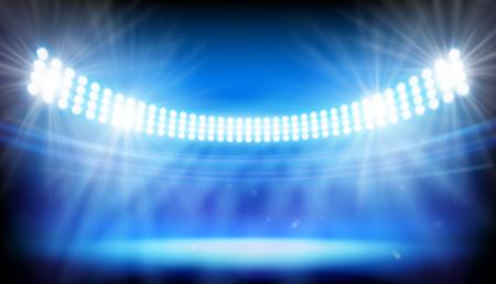 The lights on big stadium. Vector illustration.