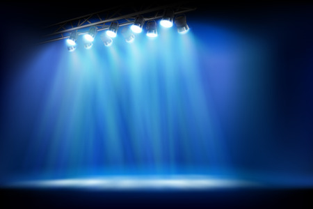 Stage illuminated by spotlights. Empty place for exposition. Vector illustration.