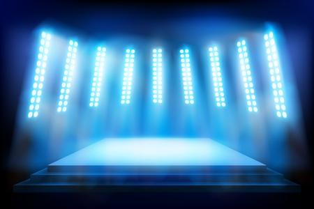 Luogo dello spettacolo illuminato da riflettori. Illustrazione vettoriale. Vettoriali