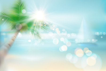 View of a tropical beach with palm tree and a sailboat. Vector Illustration.
