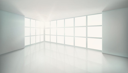 Empty room with large window. Vector illustration.