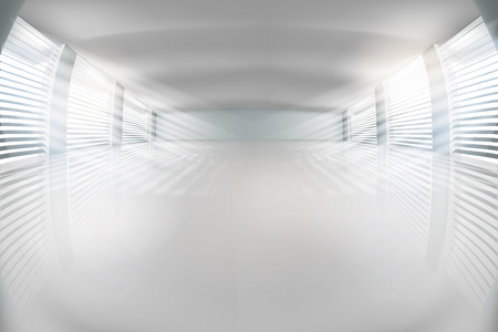 Empty hall with the windows. The rays of the sun coming through the blinds. Vector illustration.