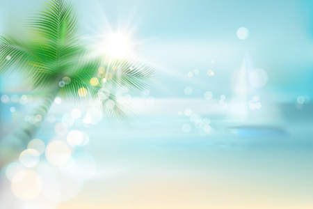 Abstract view of a tropical beach. Vector Illustration. Иллюстрация