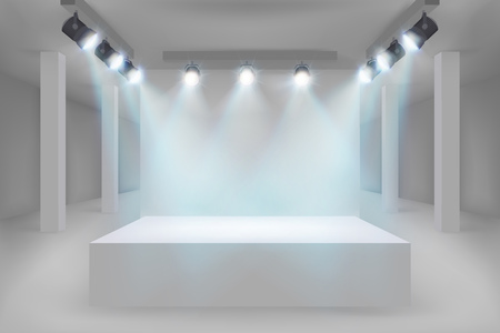 Empty exhibition in the gallery. Vector illustration.
