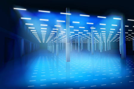 An empty factory hall. Vector illustration.