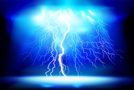Thunderstorm, electric discharge. Light show at night. Vector illustration. Illustration