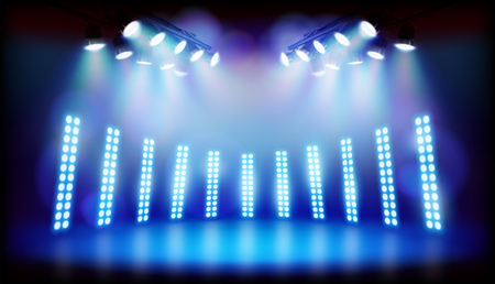 Light effects on the stage during performances. Vector illustration.