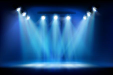 Bühne vor der Show. Platz für die Ausstellung mit Flutlicht beleuchtet. Vektor-Illustration.