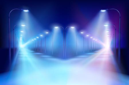 Illuminated crossroad at night. Vector Illustration.