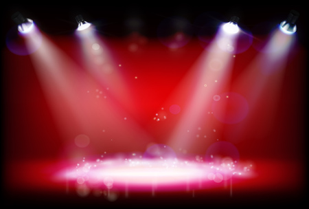 Stage illuminated by spotlights during the show. Vector illustration.