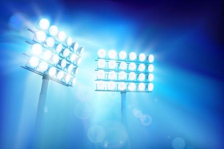 Floodlights illuminating the stadium. Sports event. Abstract vector illustration.