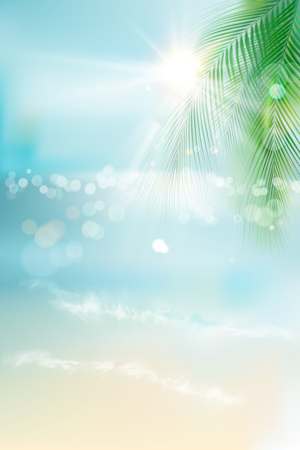 View of the sunny beach with a palm tree. Blue ocean. Vector Illustration. 矢量图像