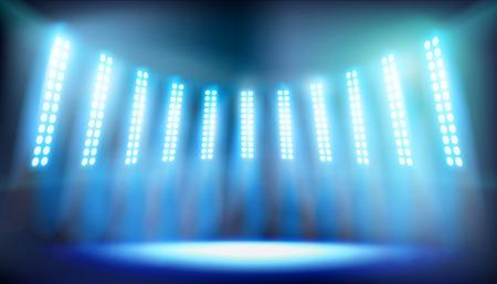 Illuminated stage on the stadium. Bright floodlights. Vector illustration. Vettoriali
