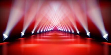 Podio escénico durante el espectáculo. Alfombra roja. Pasarela de moda. Ilustración vectorial.