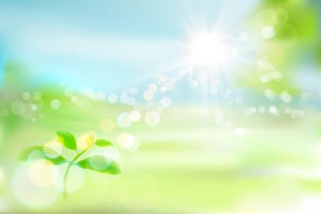 Growing plant. Fresh leaves. Green garden. Vector illustration.