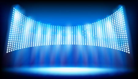 Escenario iluminado en el estadio. Gran pantalla de proyección. Ilustración vectorial. Ilustración de vector