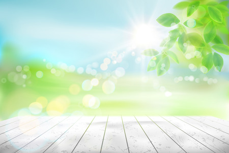 Wooden table. Fresh green tree leaves. Green meadow. Nature background. Vector illustration.